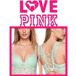 PINK Lace Longline Strappy Padded Push-up Bralette
